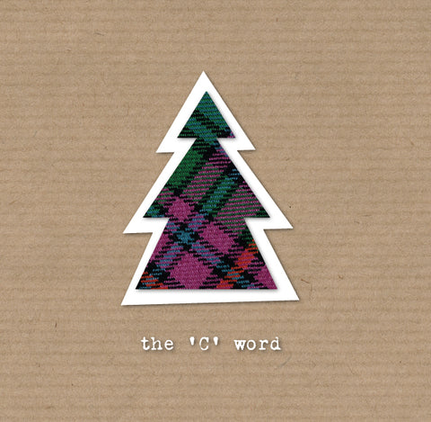 tartan christmas tree on brown wrapping paper