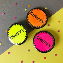 Load image into Gallery viewer, trio of neon chufty badges bright and colourful