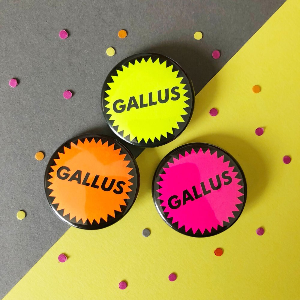 Funny Scottish badges with the word Gallus on neon backgrounds