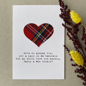 Pain in ma bahookie  - Scottish Valentine's Card
