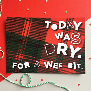 red tartan postcard by Hiya Pal