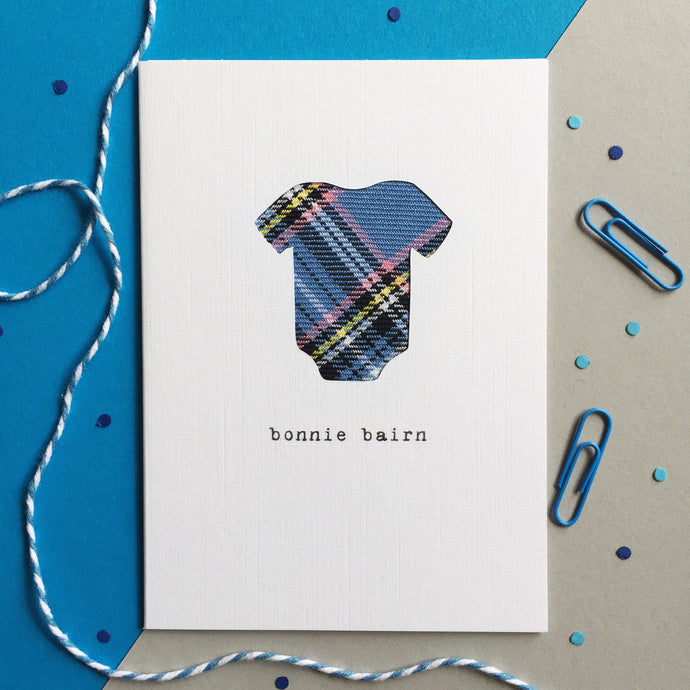 blue bonnie bairn Scottish new baby card by Hiya Pal