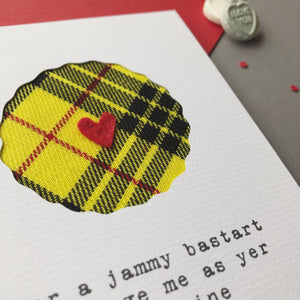 close up of tartan card by Hiya Pal
