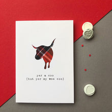 cheeky Scottish Valentine card with tartan cow silhouette