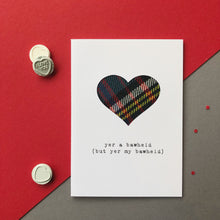 cheeky scottish tartan valentine card