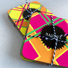 Load image into Gallery viewer, Tadger neon Tartan Coaster