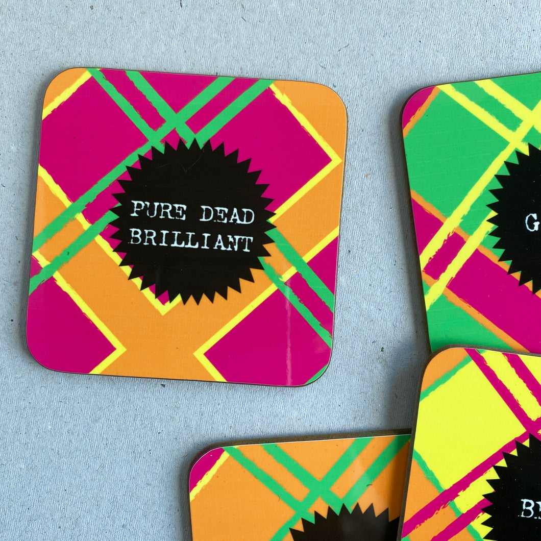 Pure Dead Brilliant Neon Tartan Coaster