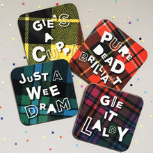 Load image into Gallery viewer, full set of 4 funny tartan coasters with Scottish banter by Hiya Pal