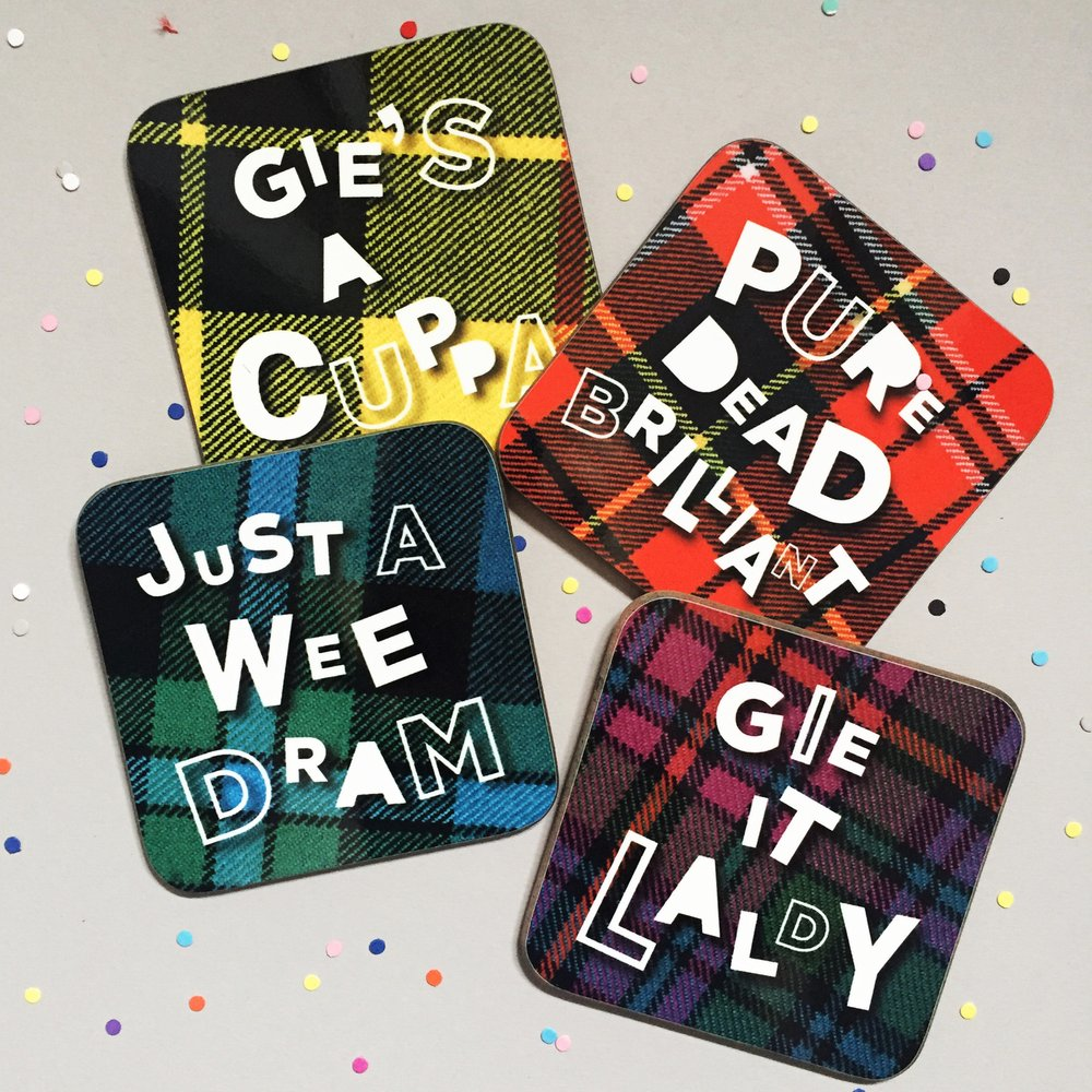 full set of 4 funny tartan coasters with Scottish banter by Hiya Pal