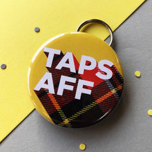 taps aff tartan bottle opener keyring in yellow with red tartan