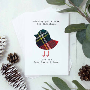 Personalised Tartan Christmas Cards, Set Of Six
