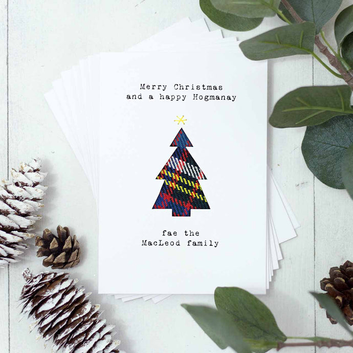 Personalised Tartan Tree Christmas Cards, Set Of Six