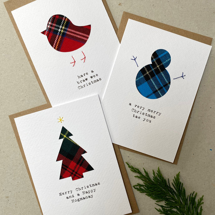 Set of 3 Handmade Christmas Cards