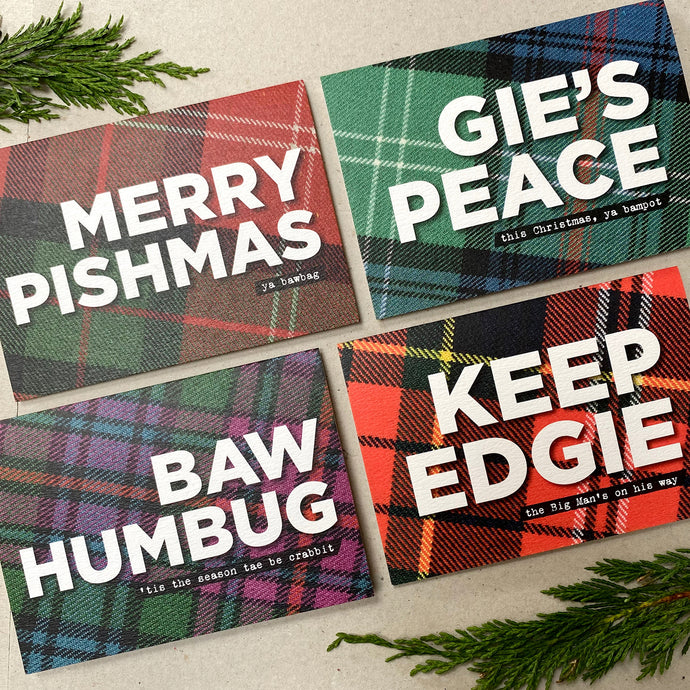 The Naughty Tartan Christmas Card Box