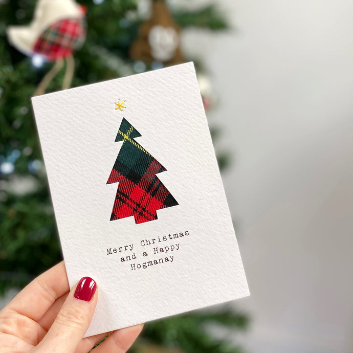 Handmade Tartan Christmas Tree Card