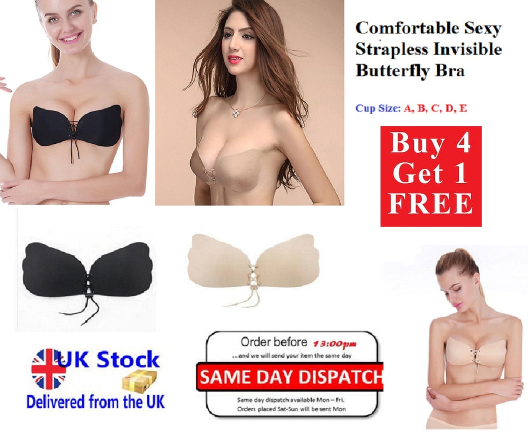 0a967d1b67964 Invisible Bra Push Up Backless Strapless Silicone Self Adhesive Stick On Gel  Uk