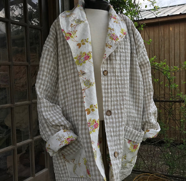 Handmade ladies reversible jacket in mix and match linens and cottons.