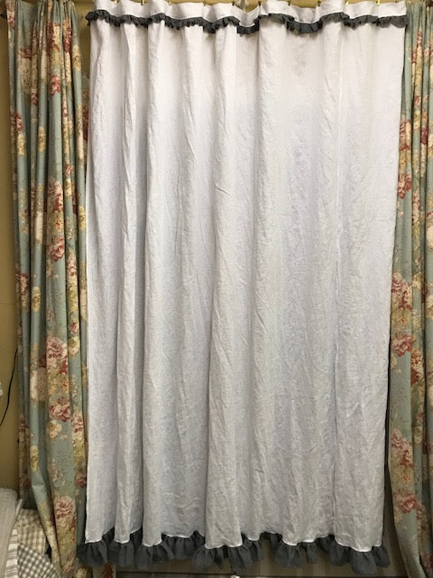 White Linen Shower Curtain With Slate Grey Ruffled Detail
