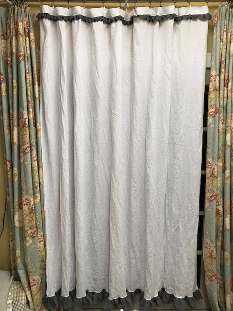White Linen Shower Curtain with Slate Grey Linen Ruffled Detail