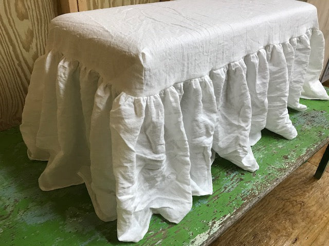 Washed Linen Bench Slipcover with Long Gathered Skirt Detail-Ruffled Bench Slipcover