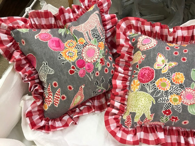 Set of Three Ruffled Pillow Shams-Whimsical Pillow Shams with Red Check Ruffle Perimeter-3 Ruffled Pillow Covers in Cute Bright Floral Animal Print