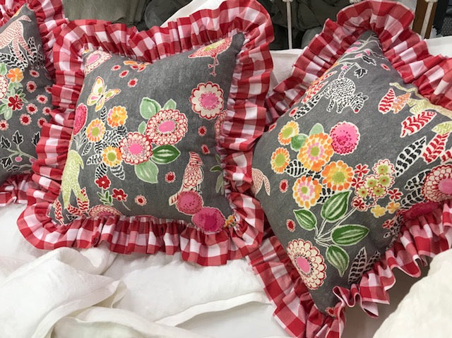 3 Whimsical Pillow Shams-Floral Animal Print with Red Gingham Ruffle-18x18 Shams-Zip Closure