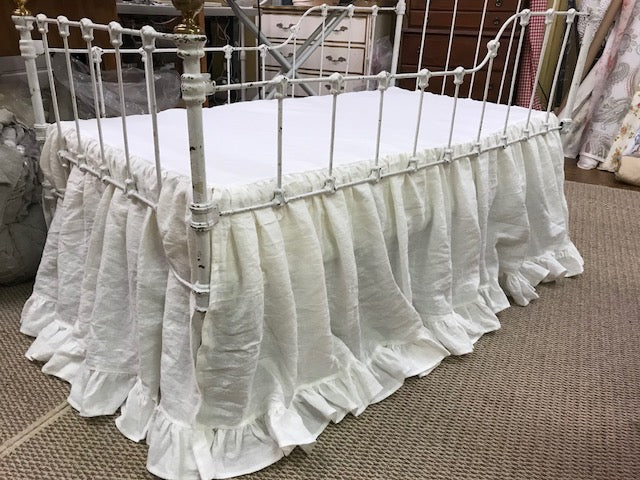 Crib Skirt in Washed Linen with Ruffled Hem-Gathered Bed Skirt-Romantic Crib Bedding