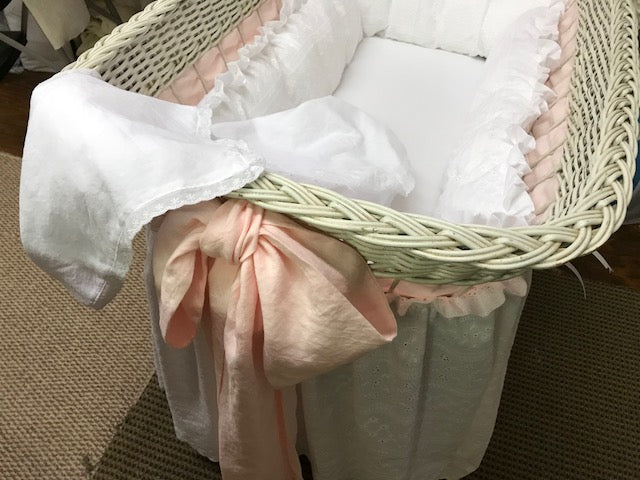 Custom Nursery Bedding-Vintage Bassinet Cotton Eyelet Bedding