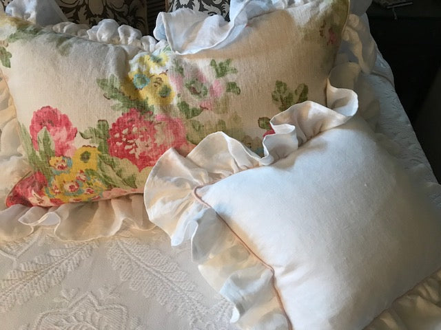 Ruffled Decorative Vintage Floral Pillow Sham