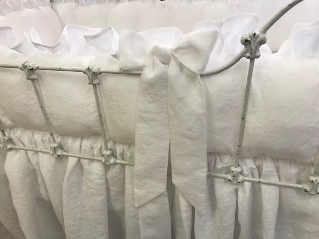 Bright White and Baby Blue Handerkerchief Washed Linen Nursery Bedding