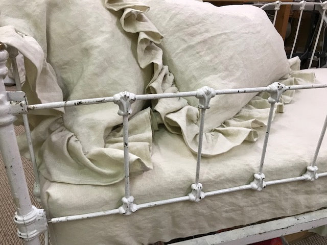 Vintage Crib Bench Fitted Sheet and 2 Ruffled Pillow Shams-Antique White Washed Linen
