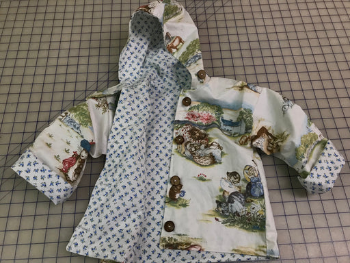 Children's Handmade Cotton Jacket-Beatrix Potter Cotton Print-Size 3 Toddler