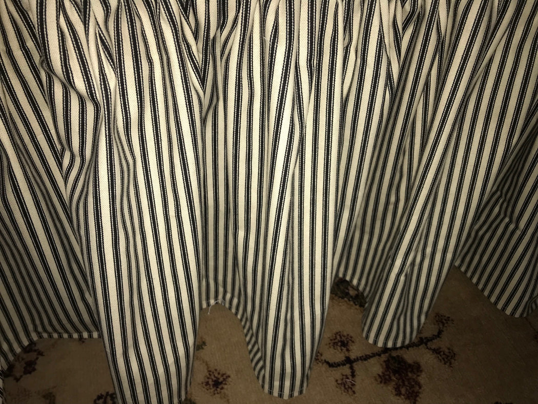 Ticking Stripe Gathered Bed Skirt-Black and Natural Cotton Ticking-Crib Skirt