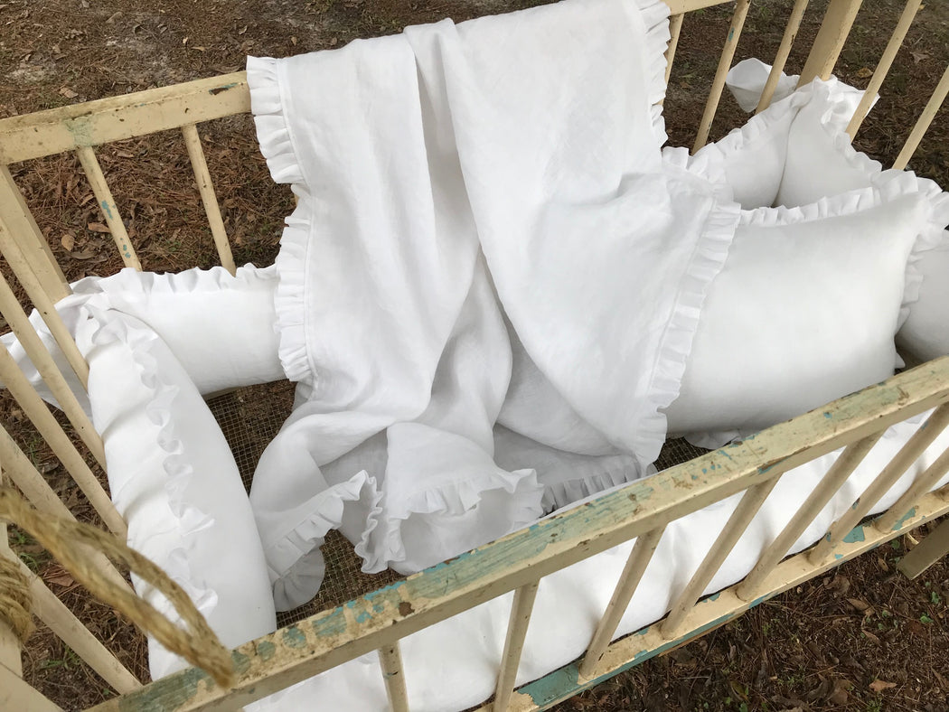 Cradle Bedding-Washed Linen Cradle Bumpers with Bows-Blanket-Pillow