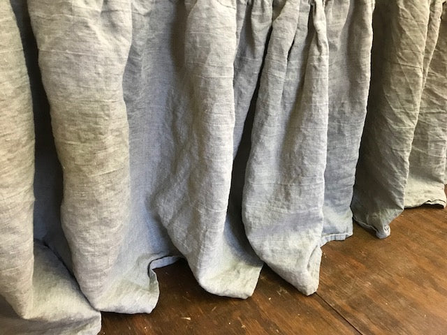 Matching Gathered Twin Bed Size Dust Ruffles-Pair of Twin Bed Skirt-Flax Washed Linen
