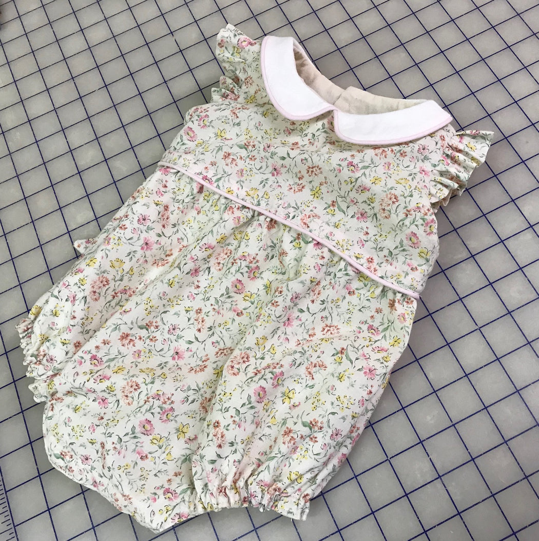 Baby Girl Floral Bubble Suit-Floral Cotton Sunsuit-Handmade Clothing for Children
