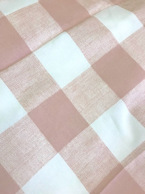 Pink Buffalo Check Curtain Panels-Ruffled Curtain Panels-Blackout Nursery Curtains