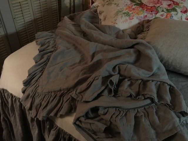 Grey Washed Linen Ruffled Duvet and Gathered Bed Skirt-Queen