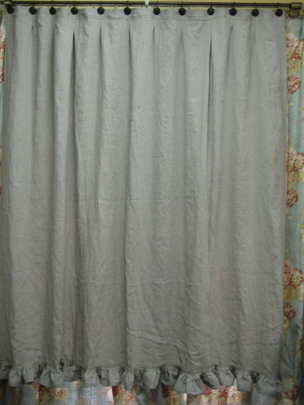 "Natural Flax Linen Shower Curtain-3"" Ruffled Hem in Flax-Washed Linens for your Bath----Ruffled Shower Curtain"