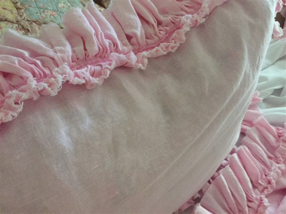 Washed Linen Bedding-Torn Ruffle Detail-Shabby Ruffled Bedding in Baby Pink