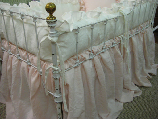 Washed Linen Crib Bedding ----Vintage White Ruffled Bumpers----Powder Blush Storybook Crib Skirt - Sash Separates - Ruffled Crib Pillow