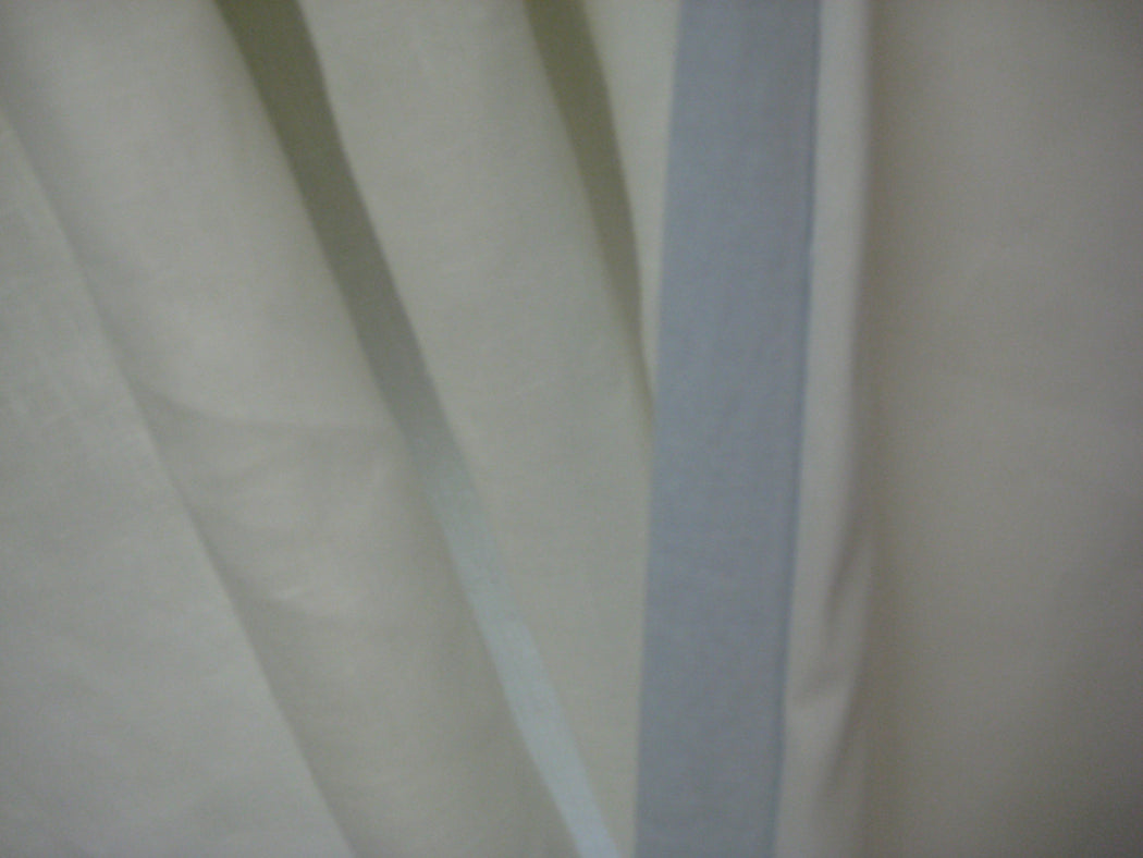Window Treatments for Your Nursery-Single Width Window--Nursery Curtains-Vintage White Panels with Little Boy Blue Flange Trim Detail