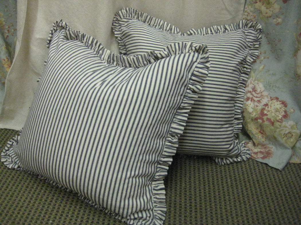 "Single Pillow Slipcover-Cotton Ticking Stripe-1"" Ruffled Detail-One Pillow Sham-Zip Closure-18x18-20x20-22x22-24x24-26x26-Indigo-Tan-Black"