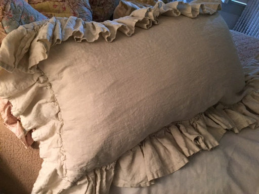 Relaxed Long Ruffle Washed Linen Pillow Sham and Twin XL (39x80) Gathered Bed Skirt-Both Pieces Photographed in Antique White Washed Linen