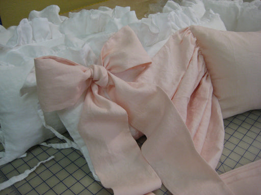 Three Large Crib Sashes in Washed Linen - Crib Bows