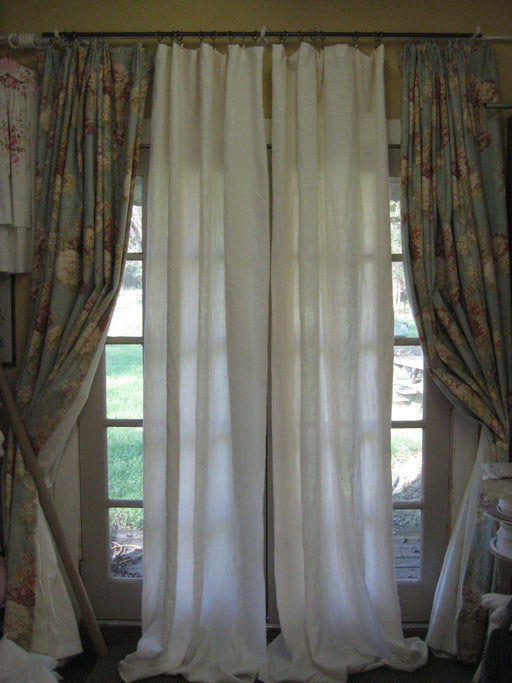 "Pair of Unlined Washed Linen Curtains-Light Filtering Curtains-Rod Pocket or Clip Rings-100"" Length-Single Width Panels-Washed Linen Pair"