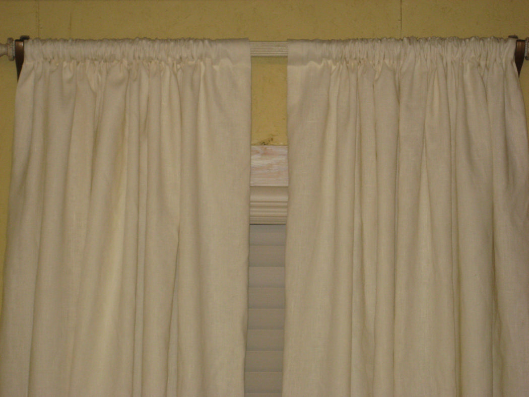 Linen Rod Pocket Curtain Panels-White Drapery Lining-Traditional Window Treatments-Classic Linen Tailored Panels-One Pair