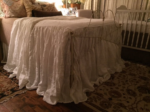 Exra Long Gathered  Washed Linen Bedspread-Linen Coverlet-Linen Bedspread-Fitted Washed Linen Bedspread-Made to Order Washed Linen Bedding