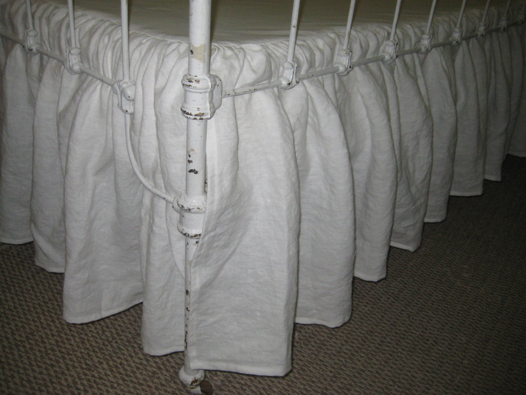 Portable Crib Size Gathered Skirt in Bright White Washed Linen-Mini Crib Skirt