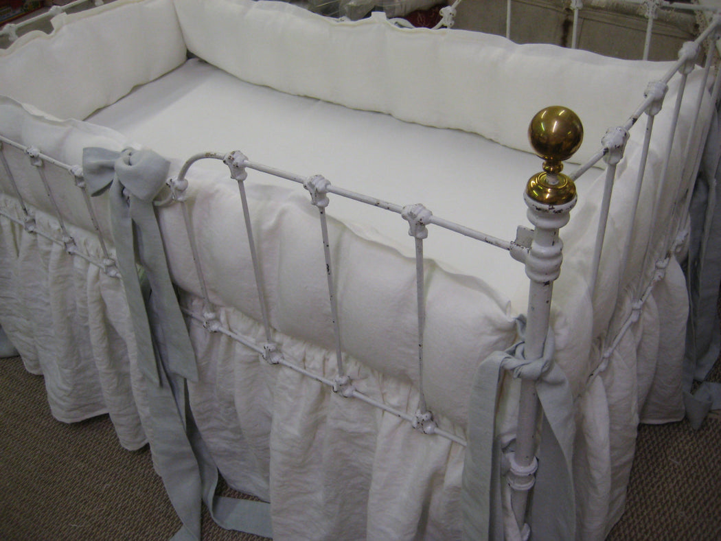 Washed Linen Crib Bedding In Vintage White and Dove-Tailored Bumpers-Gathered Skirt-Pillow-Crib Duvet-Crib Sheet-Custom Tailored Nursery